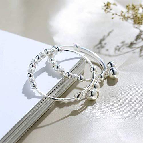 SLL Frauen Cartoon U-Förmigen Handgefertigten Silberwaren S990 Reinem Silber Kinderarmbänder Baby Baby Silber Armbänder Matte Glocken, EIN Paarpreis
