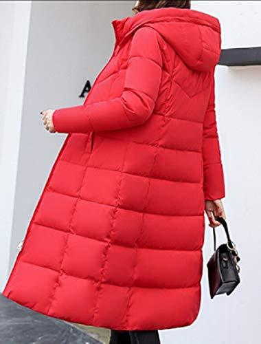 Women Down Outerwear Jackets Coat Long EKU Hooded Zipper Red Padded Bd6OwTWqv
