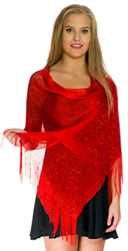 Shawls and Wraps for Evening Dresses, Metallic Sparkle Womens Wedding Red Shawl