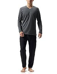 Genuwin Men's Cotton Jersey Lounge Sleepwear Top and Bottom, Long Sleeve Sleepwear Pajama Set