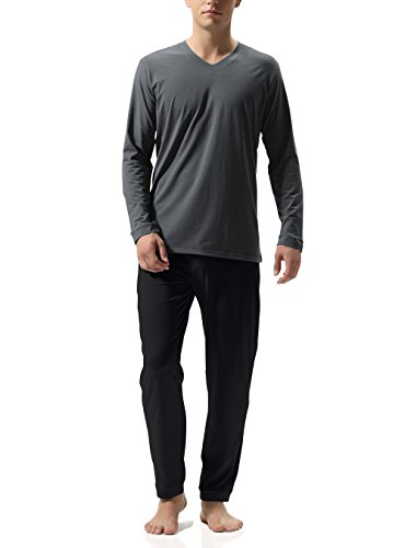 (David Archy Men's Cotton Long Sleeve Sleep Top and Bottom Pajama Set (L, Dark Gray-Black))