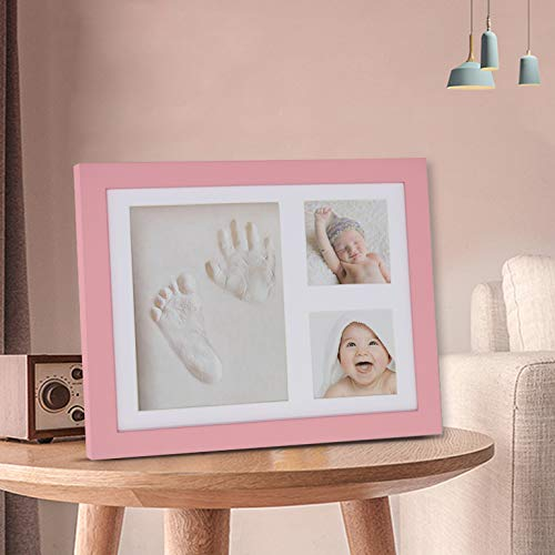Trees/&Forrest Baby Handprint and Footprint Kit Keepsake Frame with Non Toxic Clay Babies Shower Gifts for Newborn White
