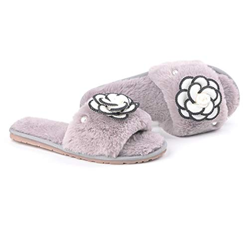 Outdoor Girls Fluffy Slippers Floral Ladies Indoor Slip Warm Gray Fuzzy Slippers for Women's on Plush Winter Xwx6qFPvH