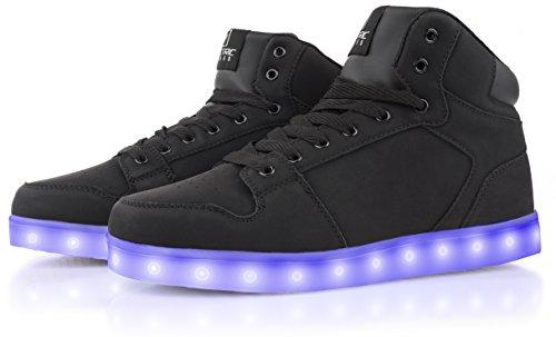 Estilos Eléctricos Caminantes Light Up High Top Sneakers Black Suede