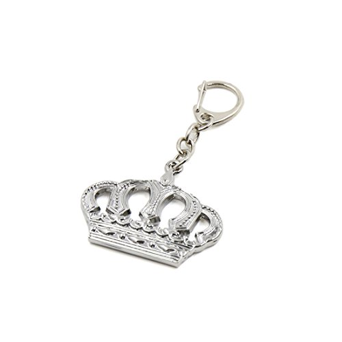 uxcell a17120600ux0371 Silver Tone Metal Keychain Crown Design Car Keyfob Keyring Chain Key Decor Gift