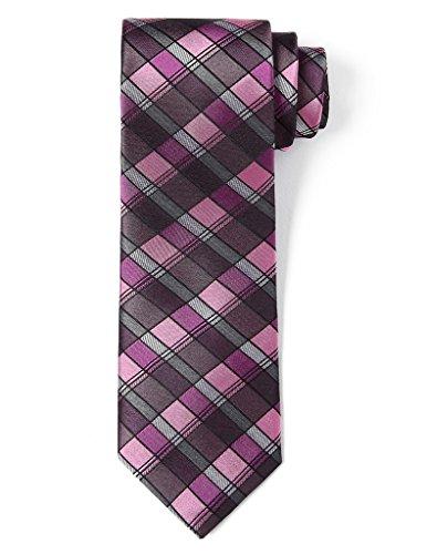 Origin Ties 100% Silk 3 Skinny Tie Men's Handmade Gingham Checkered Necktie Purple and Pink