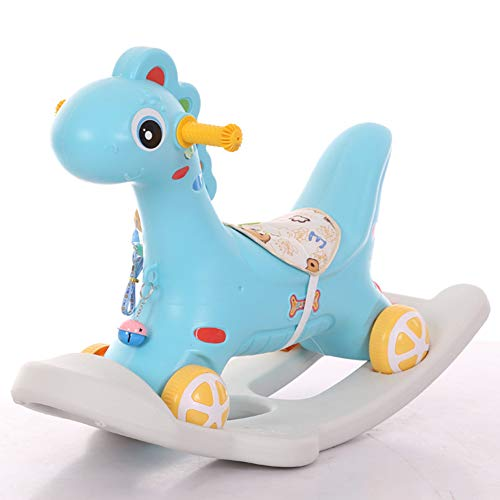 Cacyy Rocker Toy for Boy Girl,Blue Pink Ride Unicorn Rocking Horse 2 in 1 Rocker Toy with Wheels for Kid 6-36 Months,Infant Gift/Nursery,Blue