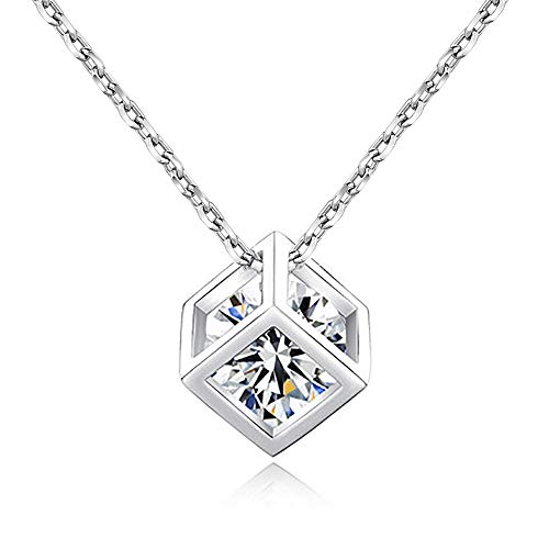 palettei Fashion Geometric Cubes Chokers Necklace Zircon Three-Dimensional Square Pendant Necklacce for Women Jewelry ()