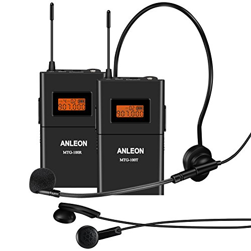 ANLEON MTG-100 Tour Guide System,Guided Tours,Language Interpretation,Assistive Listening,650-680MHz (1 Transmitter 1 Receiver)