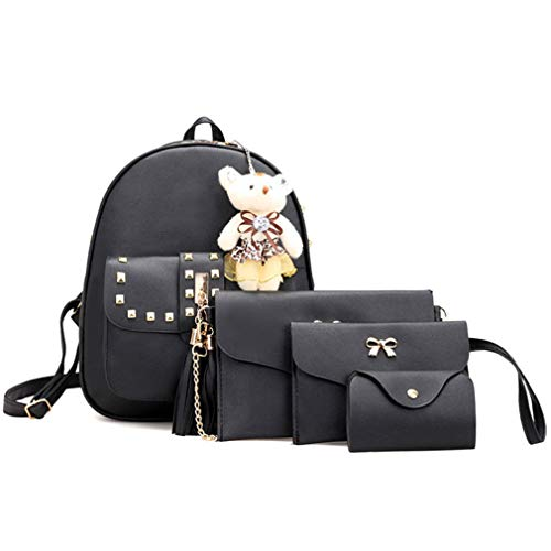 Set 4 White School Rivet Bag 23x11x29cm Pcs Backpack Black Women 556BqxRZw