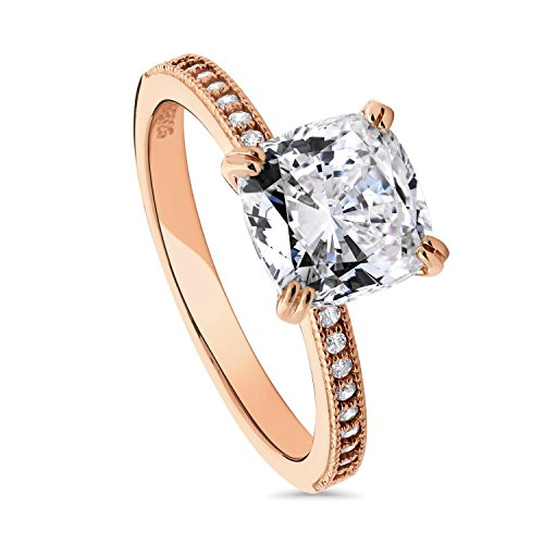 BERRICLE Rose Gold Plated Sterling Silver Cushion Cut Cubic Zirconia CZ Solitaire Engagement Ring 3.11 CTW Size 7
