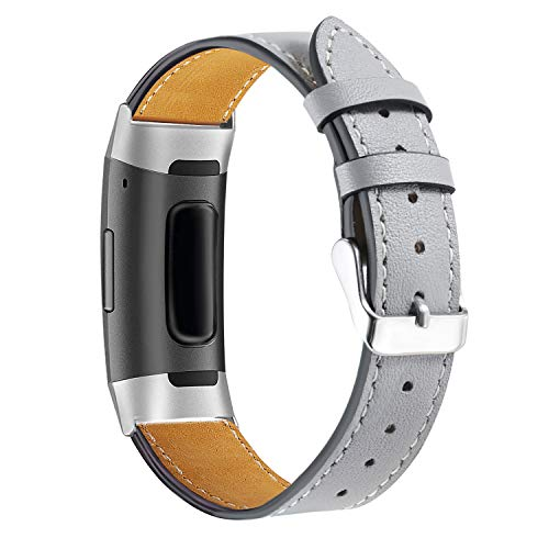 Genuine Leather Replacement Band - bayite Leather Bands Compatible Fitbit Charge 3 & Charge 3 SE, Genuine Leather Band Replacement Accessories Strap Charge3 Women Men, Space Gray