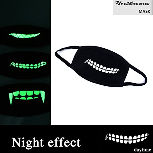 [Didadi Medical Grade Night Light Cotton Mask with Vampire, Ghoul, Shark Teeth Patterns, for Halloween Party -] (Twisty The Clown Costume Mask)