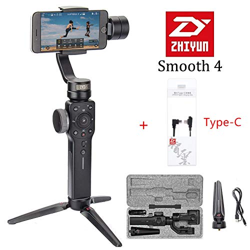 Zhiyun Smooth 4 3-Axis Handheld Gimbal Stabilizer for Smartphone Like iPhone Xs X 8 7 Plus Android Samsung S9 S8,Gopro,Focus Pull/Zoom,Object Tracking,Phonego Mode,Time Lapse Type-C Charging Cable
