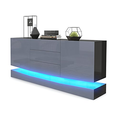 Vladon Sideboard Cabinet City Carcass In Black High Gloss Front In Grey High Gloss Led Lighting