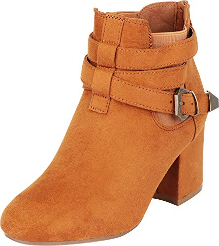 Cambridge Select Women's Wraparound Strappy Buckle Chunky Heel Ankle Bootie,7 B(M) US,Camel IMSU (Wrap Around Buckle)