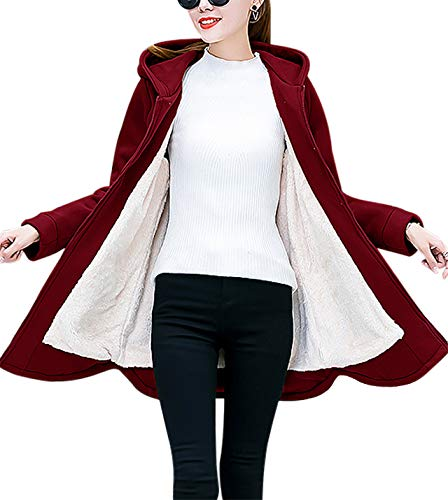 al Full Zip Fleece Hoodie Sherpa Lined Mid-Long Warm Jacket Coat (Wine, X-Large) ()