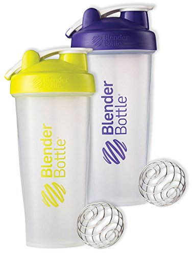 28 Oz. Hook Blender Bottle W/wire Shaker Ball Bundle-Clear Green/Clear Purple