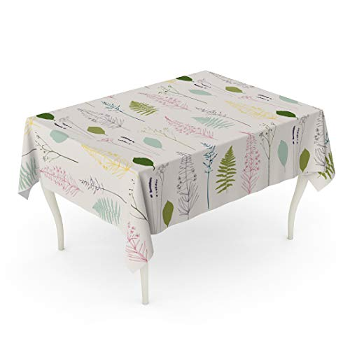 Semtomn 60 x 102 Inch Decorative Rectangle Tablecloth Floral Fireweed Flowers Dill Fennel Fern Leaves Lavender Waterproof Oil-Proof Printed Table Cloth