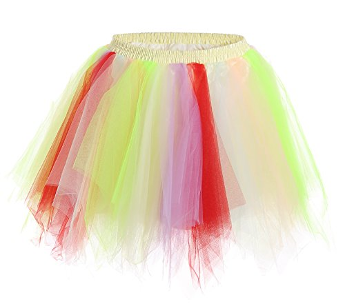 [JustinCostume Women's 80's Skirt Neon Rainbow Tulle Petticoat, Rainbow B, XS/L] (80s Themed Outfits)
