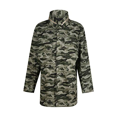 Camouflage Collare Light Outwear Streetwear Donna Army Giacca Lunga Xcxka Manica Moda Tasca Green Sciolto Stand Cerniera qwfaat