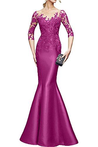 Damen Promkleider mia Brautmutterkleider Dunkel La Spitze Festlichkleider Pink Lila Abendkleider Etuikleider Braut Langarm UawqSxzIq