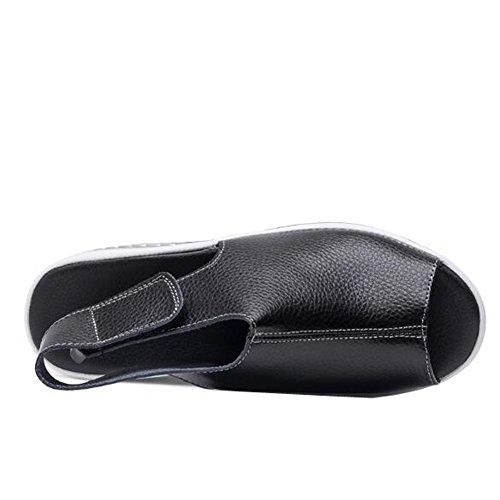 ANDAY Womens Casual Magic Stick Sandals Peep-Toe Flatform Sports Sandals Black XqBRRXe