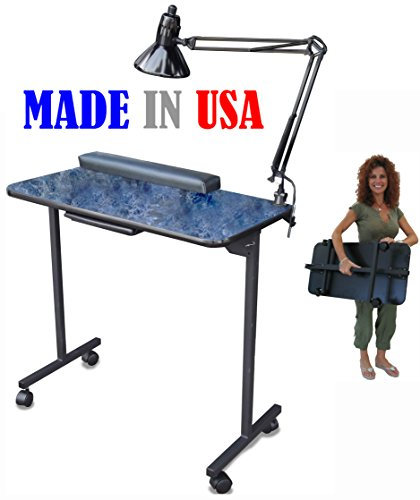 310DLX Portable Foldable Manicure Nail Table Black Marble Lam. Top by Dina Meri by Dina Meri