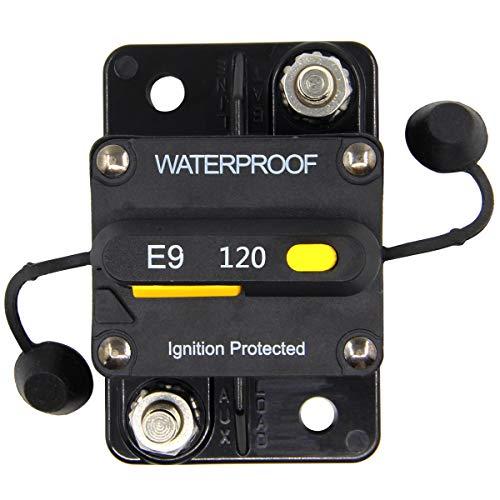 ZOOKOTO 12V- 48V DC 120 Amp Manual Reset Circuit Breaker Waterproof ()