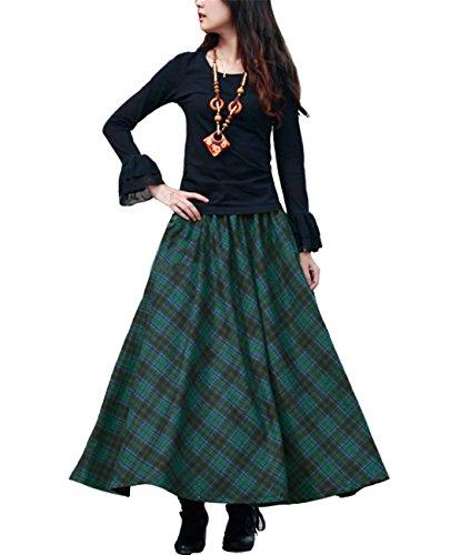 (Femirah Women's Red Elastic Waist A Line Long Maxi Woolen Plaid Skirt (Length 90cm/Waist 73cm to 90cm, Dark Green))