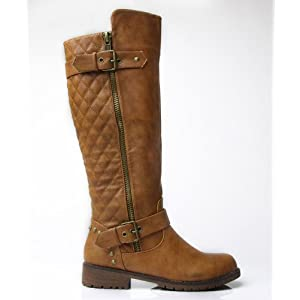Nature Breeze Vivienne-01 Studded Quilted Leatherette Buckle Round Toe Motorcycle Boots TAN (7)