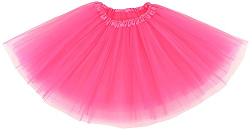 [Women's Classic Elastic 3-Layered Tulle Tutu Skirt Ruffle Pettiskirt,Hot Pink] (Sexy Halloween Dress Up)