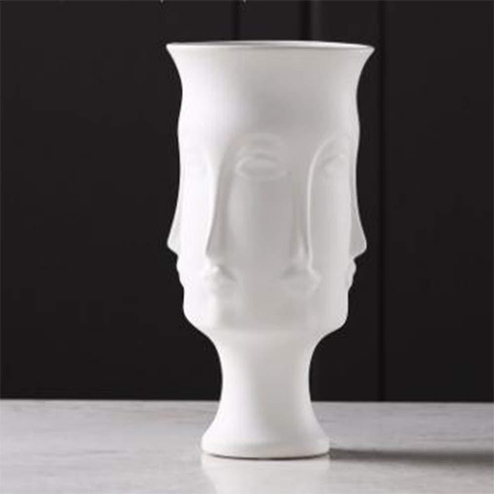 LICIDI Kreative Weiße Matte Glasierte Keramikvase,  Herrenchliches Gesicht Modell Zimmer Dekoration Portrait Porträt Vase,L