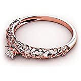 Rose Gold Ring Anniversary Gifts for Her Retro Hollow 925 Sterling Silver Fashion Jewelry Engagement Wedding Ring