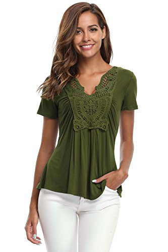 MISS MOLY Women's Deep V-Neck Ruched Front Short Sleeve Ruffle Casual Tops Tunic Blouse Shirt (Medium/US-10, Army Green)
