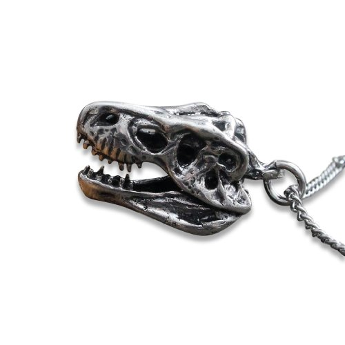 (3D T Rex Necklace (Solid White Bronze with Sterling Silver Overlay))