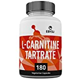EBYSU L-Carnitine L-Tartrate Supplement - 180 Vegan Capsules, Gluten-Free & Non-GMO Amino Acids - Helps Aid Fat Burn & Muscle Building Workouts - lcarnitine Powder Caps Vegetarian Health Supplements