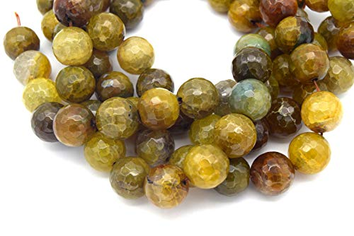 20mm Neutral Brown/Green Dyed Agate Faceted Sphere/Ball Shaped Beads - (Approx. 15.5