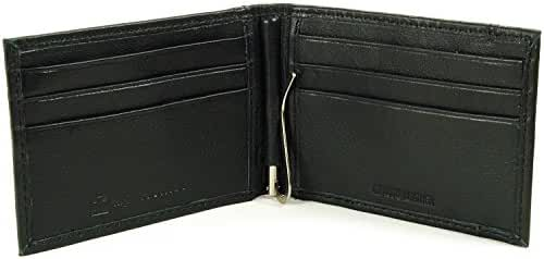 Alpine Swiss Mens Genuine Leather Spring Loaded Bifold Money Clip Wallet