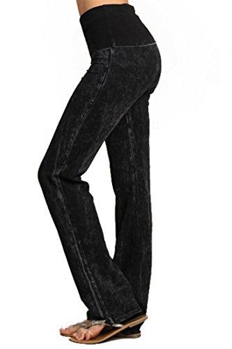 Zoozie LA Women's Foldover Straight Leg Yoga Pants High Waist Tie Dye Black S