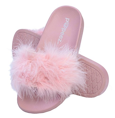 Pupeez Girls Open Toe Flip Flop Slide Slippers with Soft Faux Fur Top and Hard Sole Pink (Pink Fur Girls)