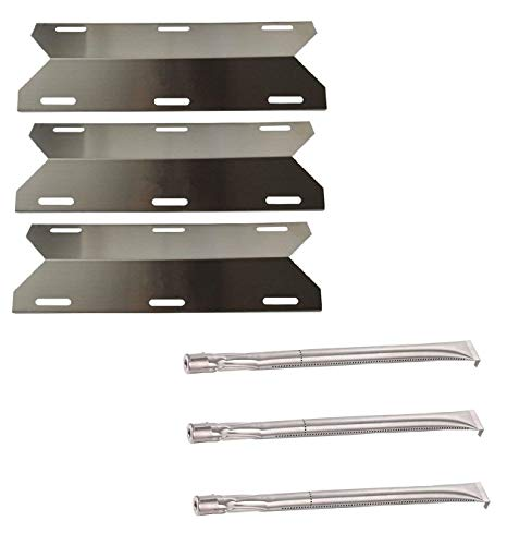 Charmglow Gas Grill Replacement Parts - Hongso 3-Pack Stainless Steel Repair Replacement Parts Kit, Grill Burner Tube & Heat Plate for Charmglow Home Depot 3 Burner 720-0230, 720-0036-HD-05, Sterling Forge, Permasteel (SBZ361, SPA241)