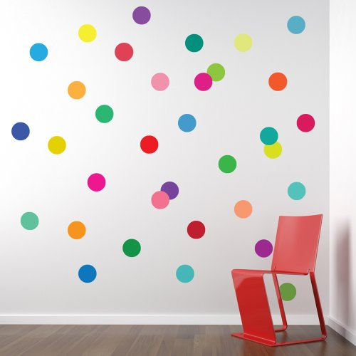 36 Confetti Rainbow Colors Polka Dots Wall Decals Stickers Repositionable Peel and - Polka Bubble Wall Dot