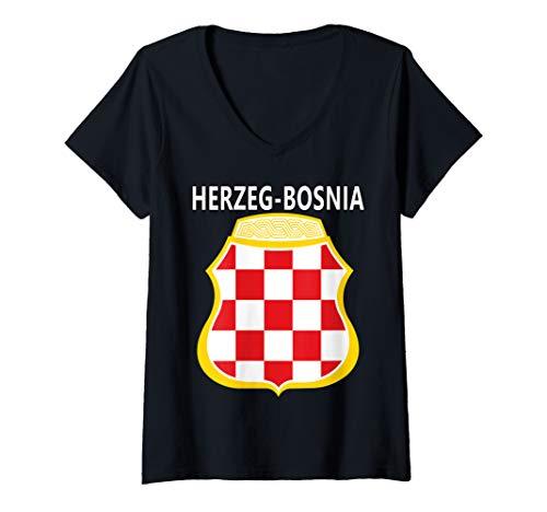 Womens Coat of Arms Emblem of Herzeg-Bosnia V-Neck T-Shirt
