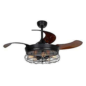 Image of Home and Kitchen Ceiling Fans with Lights 46 Inch Ceiling Fan with Remote Vintage Cage Chandelier Fans with Retractable Blades, 5 Edison Bulbs Not Included, Black