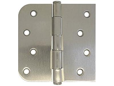 """4"""" X 4""""in Straight Square Corner 5/8 Round Radius Exterior Door Hinge Satin Nickel"""