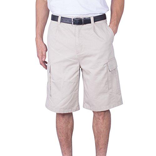 Mens Cargo Short Big & Tall Solid Long Loose Fit Solid Cotton Chino Shorts (Light (Khaki Long Shorts)