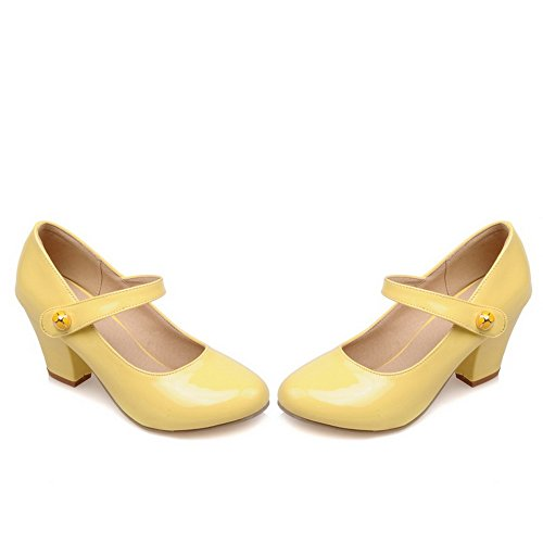 Balamasa Dames Chunky Talons Pull-on Bout Rond Chaussures En Cuir Verni-chaussures Jaune