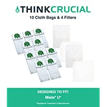 10 Miele Deluxe Type U Allergen Bags + 4 Filters Designed To Fit Miele Type U S7 Series Upright Vacuums, Compare to Part # 07282050, Designed and Engineered by Crucial Vacuum