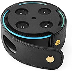 TNP Protective Case for Amazon Echo Dot (Fits all-new Echo Dot 2nd Generation Only) - Premium Vegan Leather Cover Sleeve Skin (Black)